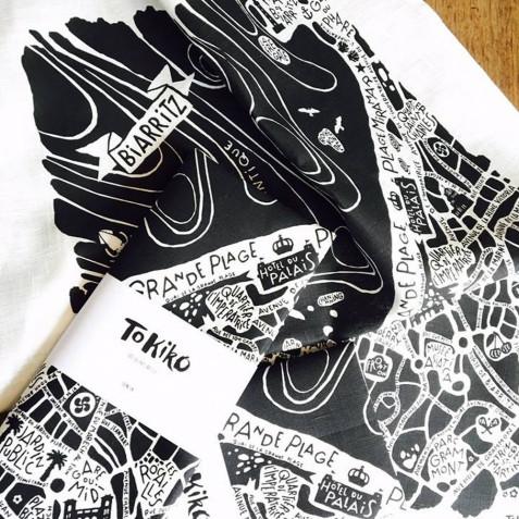 Torchon Tokiko Plan Biarritz 50x70cm 100% Lin